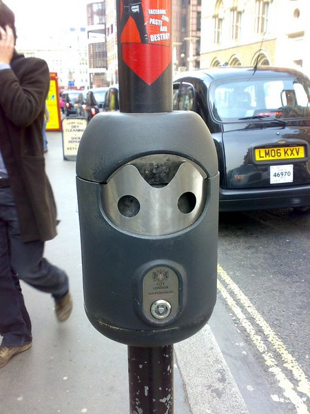 cigarette bin face daylight observation